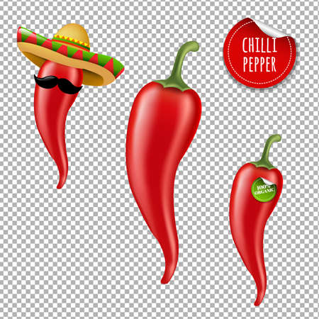 Hot Chilli Pepper Big Set With Gradient Mesh, Vector Illustration