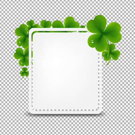 four leafs clover: Banner With Green Clover With Gradient Mesh, Vector Illustration
