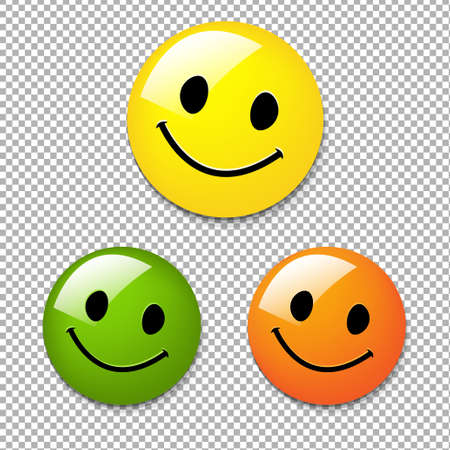 Smiley Button With Gradient Mesh, Vector Illustration Illustration
