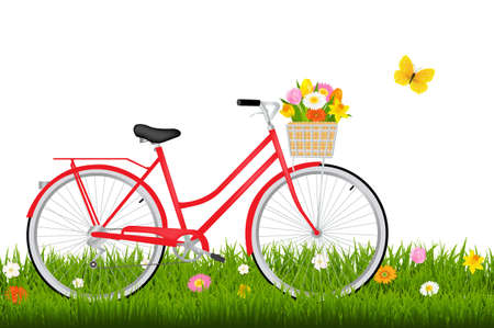 Bicycle With Flowers With Gradient Mesh, Vector Illustration Illustration