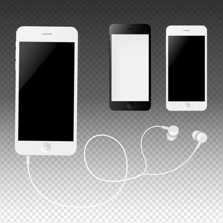 Phone With Earphones Gradient Mesh, Vector Illustration