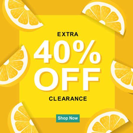 Sale Poster With Lemon, Vector Illustration Illustration