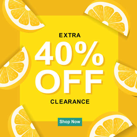 Sale Poster With Lemon, Vector Illustration Illustration