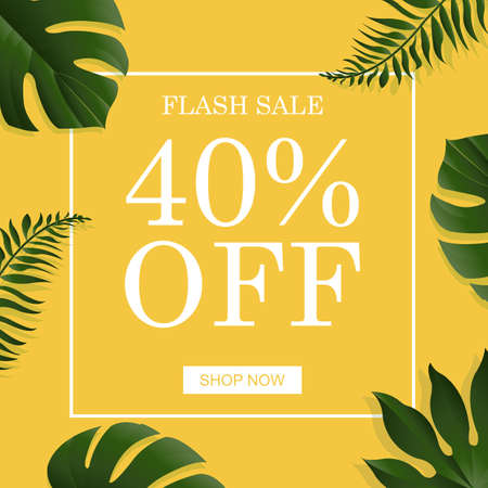 banana sheet: Summer Banner With Tropical Leaf, With Gradient Mesh, Vector Illustration Illustration