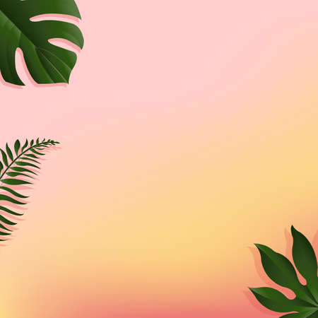 banana sheet: Summer Banner With Tropical Leaf, Vector Illustration, With Gradient Mesh