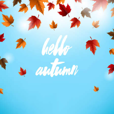 Autumn Card With Leaves, Vector Illustration