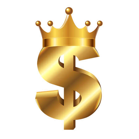 Dollar Sign With Crown, With Gradient Mesh, Vector Illustration