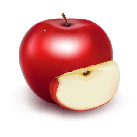 新鮮なリンゴ、白い背景で隔離のグラデーション メッシュで