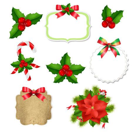 赤いリボンとヒイラギのベリーがセットになったクリスマスラベル、グラデーションメッシュ、ベクトルイラスト
