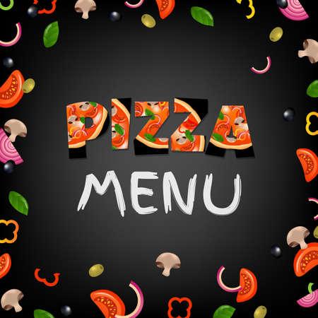 Menú de la pizza gradiente de malla, ilustración vectorial Foto de archivo - 86699722