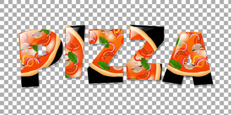 Pizza In Text Isolated Gradient Mesh, Vector Illustration
