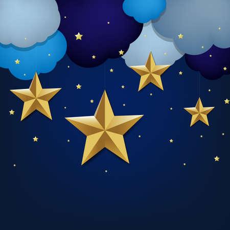 five stars: Golden Star And Clouds Gradient Mesh Illustration. Illustration