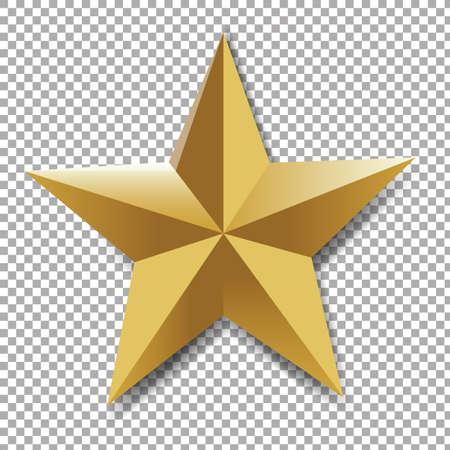 five stars: Golden Star Gradient Mesh in transparent backdrop Illustration.