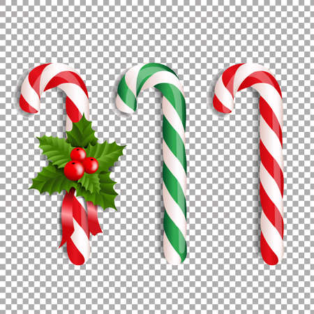 Xmas Lollipop Set With Gradient Mesh Illustration
