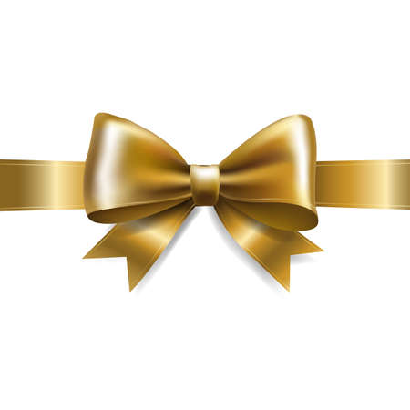 Golden Bow Isolated With Gradient Mesh, Vector Illustration