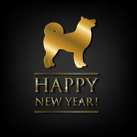 New Year Card With Golden Dog, Vector Illustration  イラスト・ベクター素材