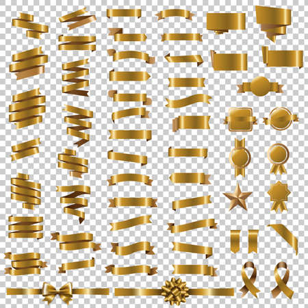 Golden Blots Set In Transparent Background With Gradient Mesh, Vector Illustration Vectores