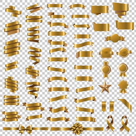 Golden Blots Set In Transparent Background With Gradient Mesh, Vector Illustration Çizim