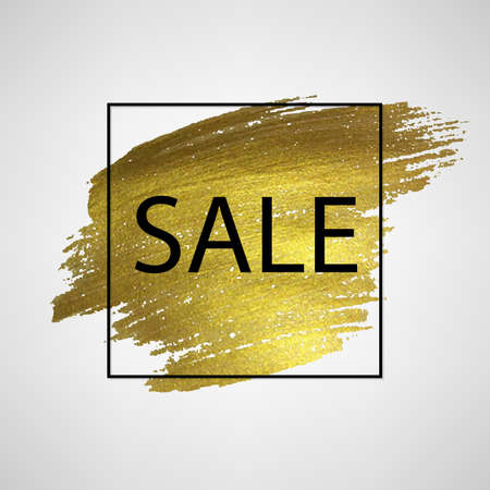 Sale Poster With Golden Blot With Gradient Mesh, Vector Illustration