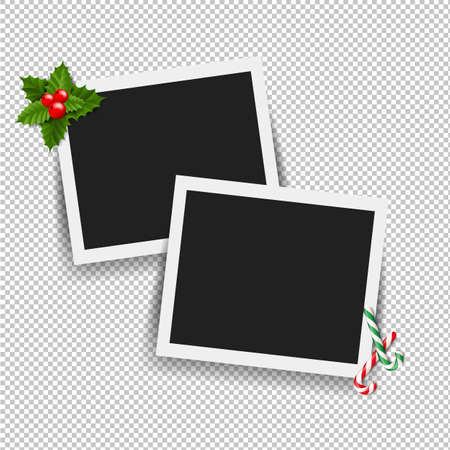 Xmas Photo Frame With Gradient Mesh, Vector Illustration