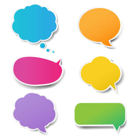 Color Speech Bubbles Set With Gradient Mesh, Vector Illustration