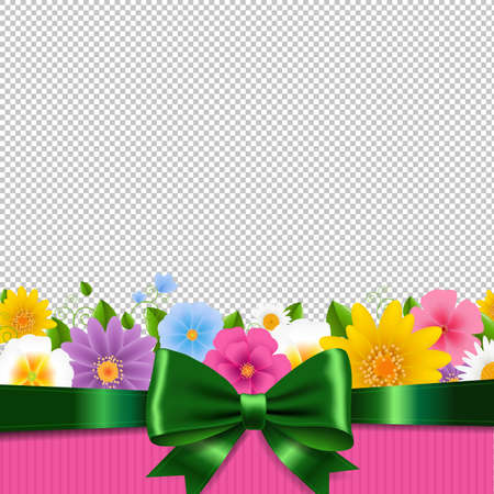 Flowers Frame With Ribbon White Background With Gradient Mesh, Vector Illustration