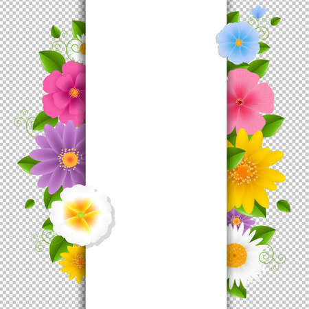 Card With Flowers Transparent Background With Gradient Mesh, Vector Illustration