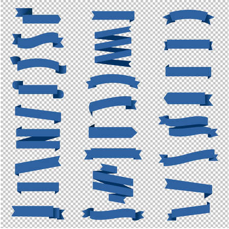 Ribbon Set In Transparent Background With Gradient Mesh, Vector Illustration