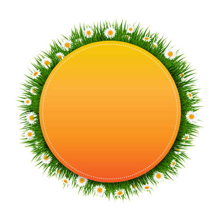 Banner Ball With Grass And Flower White Background With Gradient Mesh.