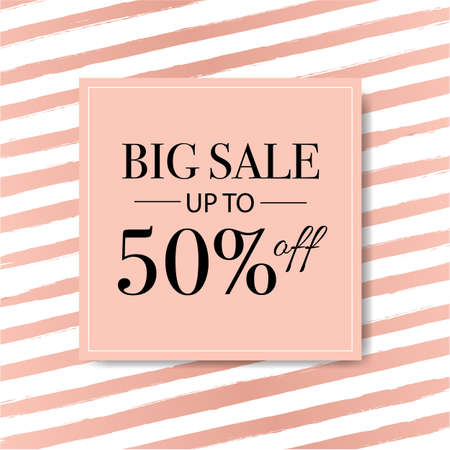 Sale Banner With Pink Background With Watercolor Line With Gradient Mesh, Vector Illustration Vektorové ilustrace