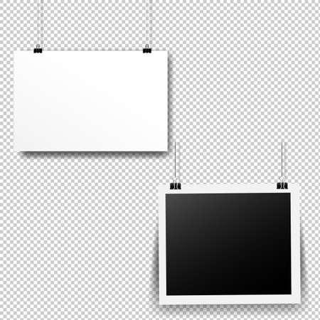 Paper Cards Set Transparent Background With Gradient Mesh, Vector Illustration