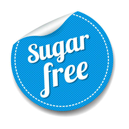 Sugar Free Sticker Isolated White Background With Gradient Mesh, Vector Illustration