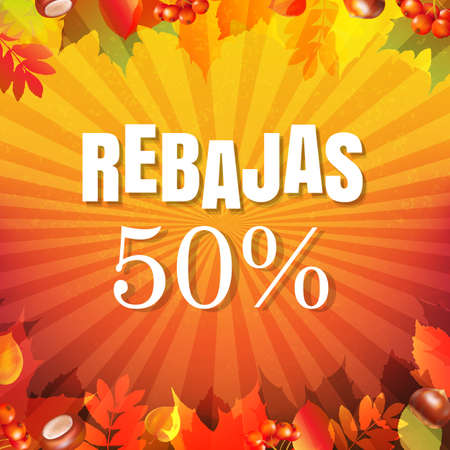 Autumn Rebajas Banner With Gradient Mesh, Vector Illustration Ilustrace