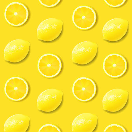 Yellow Lemon Poster With Gradient Mesh, Vector Illustration