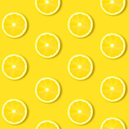 Lemon Isolated Yellow Background With Gradient Mesh, Vector Illustration