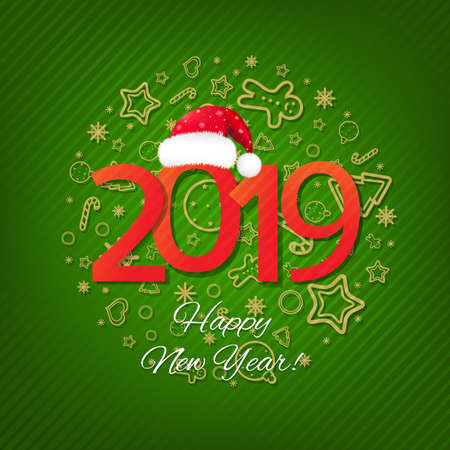 Green New Year Card With Gradient Mesh, Vector Illustration
