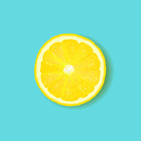 Lemon Isolated Mint Background With Gradient Mesh, Vector Illustration  イラスト・ベクター素材