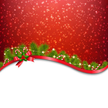 Red Xmas Red Background With Red Bow With Gradient Mesh, Vector Illustration Ilustracja