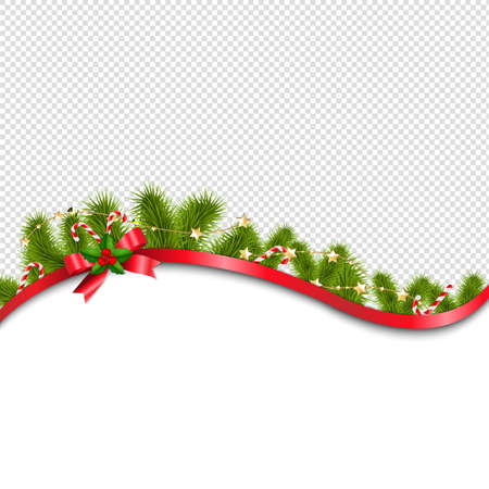 Red Xmas Background With Red Bow With Gradient Mesh, Vector Illustration