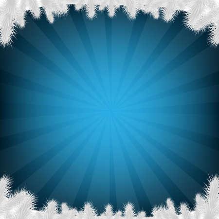 Blue Firtree And Sunburst With Gradient Mesh, Vector Illustration Ilustracja