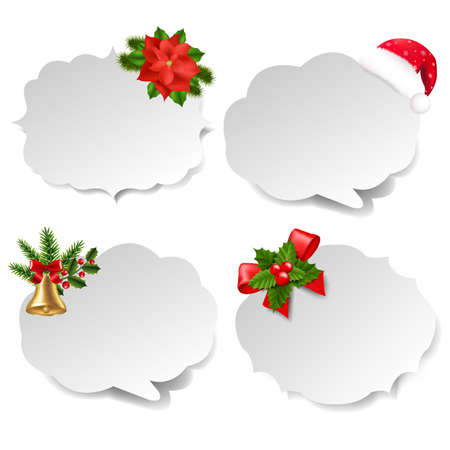 Xmas Labels Set With Gradient Mesh, Vector Illustration