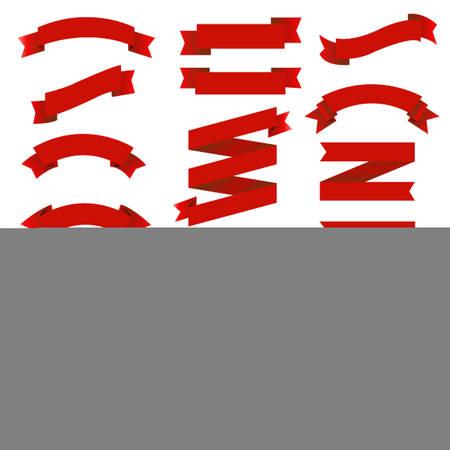 Big Set Red Ribbons, Vector Illustration