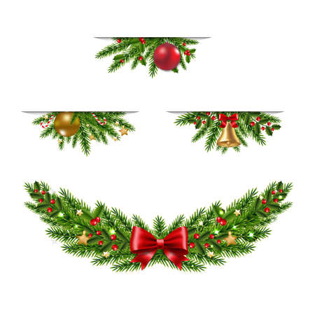 Christmas Garland Collection White Background With Gradient Mesh, Vector Illustration Ilustracja