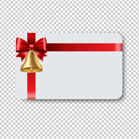 Blank Gift Tag Red Ribbon Bow Ribbon Transparent Background With Gradient Mesh, Vector Illustration
