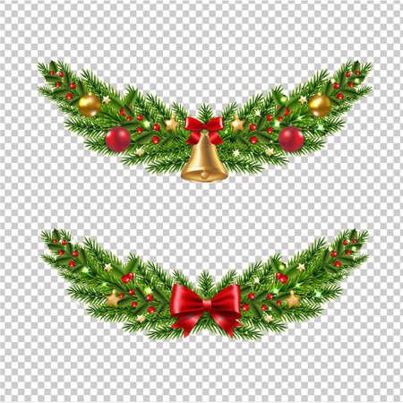 Christmas Garland Set Transparent Background With Gradient Mesh, Vector Illustration