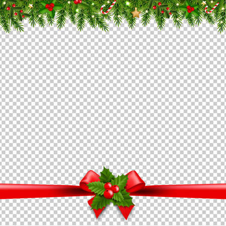 Christmas Garlands Transparent Background With Gradient Mesh, Vector Illustration