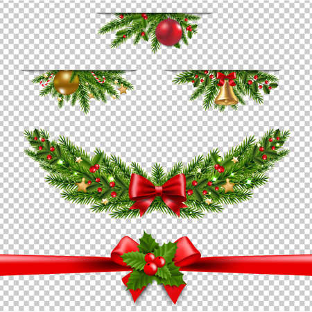 Christmas Garland Big Collection Transparent Background With Gradient Mesh, Vector Illustration Ilustracja