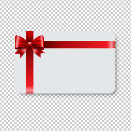 Blank Gift Tag Red Ribbon Bow Transparent Background With Gradient Mesh, Vector Illustration
