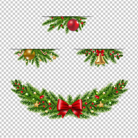 Christmas Garland Collection Transparent Background With Gradient Mesh, Vector Illustration