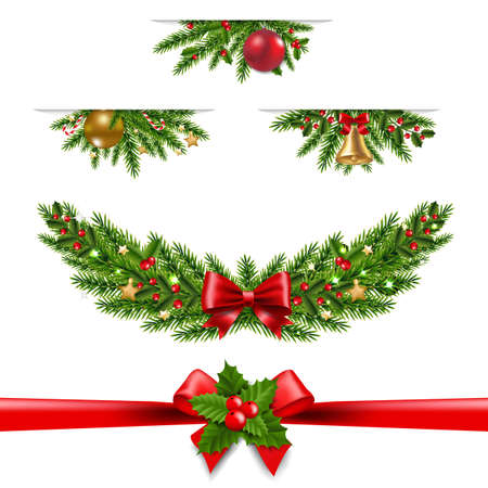 Christmas Garland Big Collection White Background With Gradient Mesh, Vector Illustration